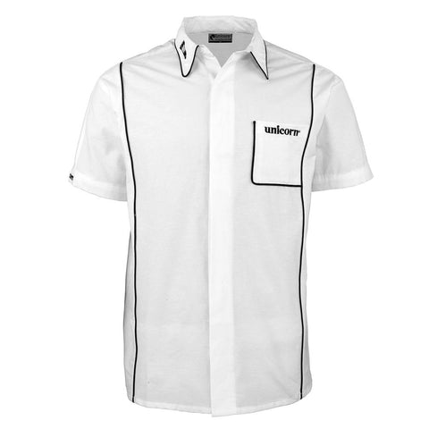 Unicorn - Unicorn Mens Teknik Dart Shirt White Black - Mad On Darts -  Dart Shirts