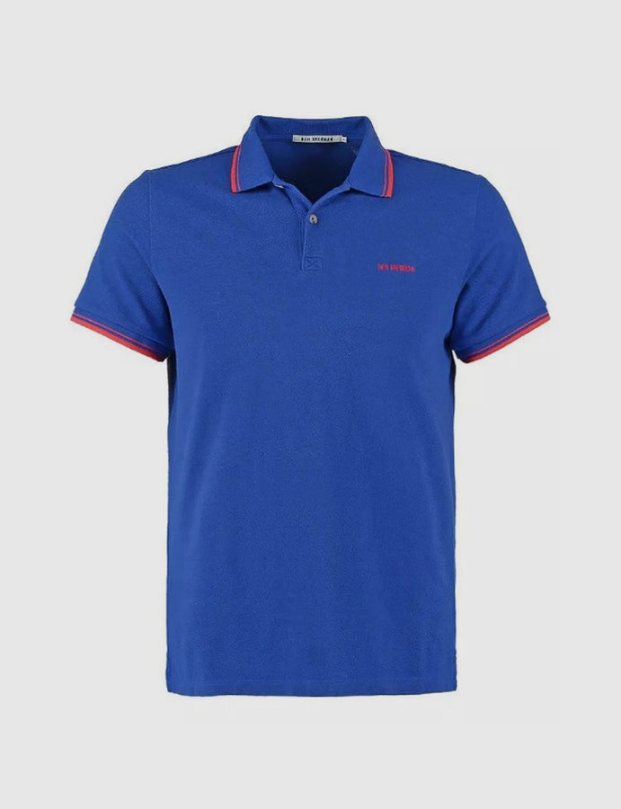 ben sherman-polo-due bottoni-royal-bright-blue-tipped polo-piquet -casuals-original-mods-reverse clothing store-perugia-umbria