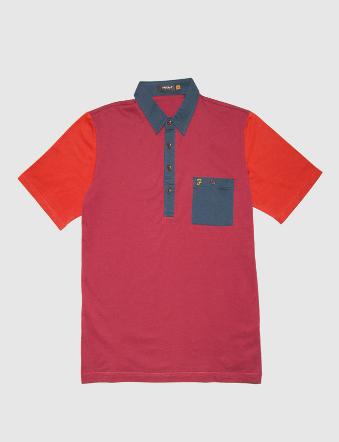 FARAH-farah vintage-polo con bottoni-polo manica corta-Colour Block Polo-multicolor-polo con taschino-reverse clothing store-perugia-umbria