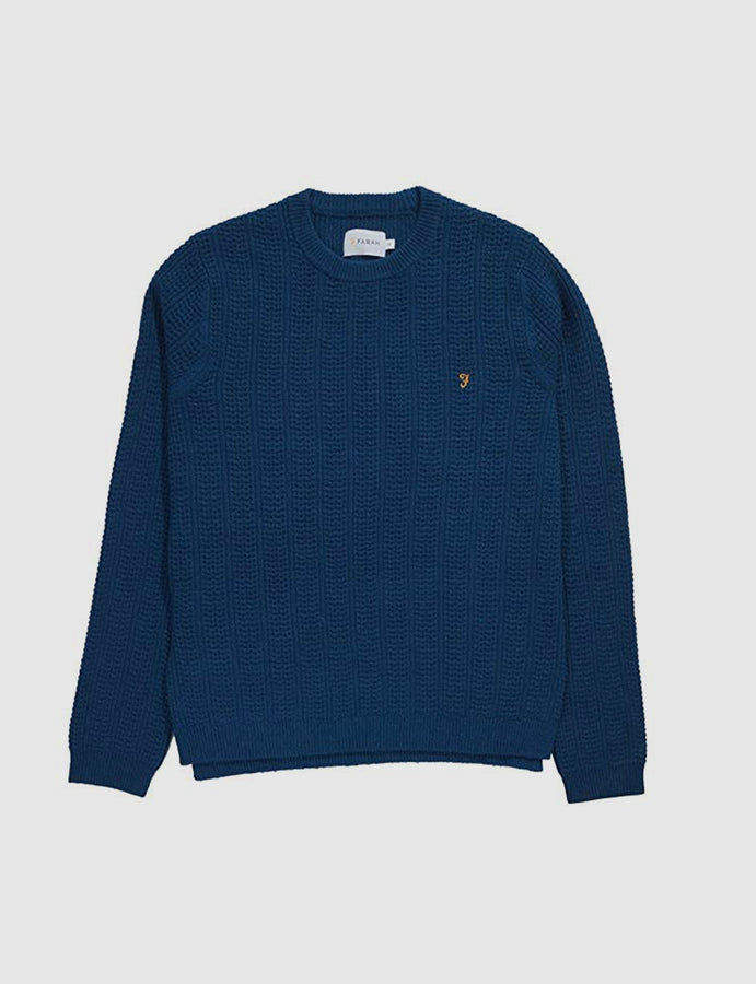 Farah Vintage -Oldham- Cable Waffle- Crew Jumper- Poseidon-knitwear-maglione-lana-girocollo-reverse clothing store-perugia-umbria