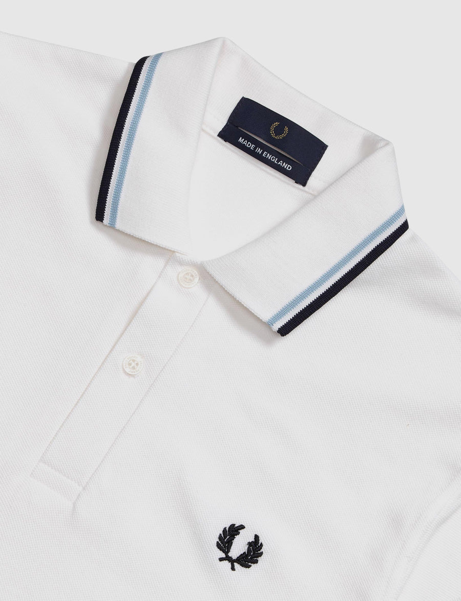 Fred Perry -Polo- M12 -Bianco/Celeste/Blu Navy-made in england-reverse clothing store-perugia-umbria
