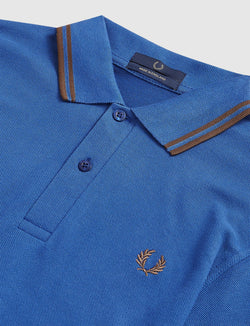 Fred Perry- Polo- M12- Azzurro/Tabacco-Made in England-reverse clothing store-perugia-umbria