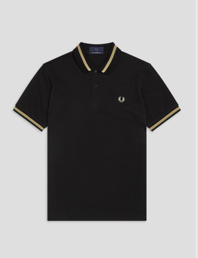 Fred Perry -Reissues- M2 Polo- Nero/Champagne-made in england-polo manica corta-nero-casuals-reverse clothing store