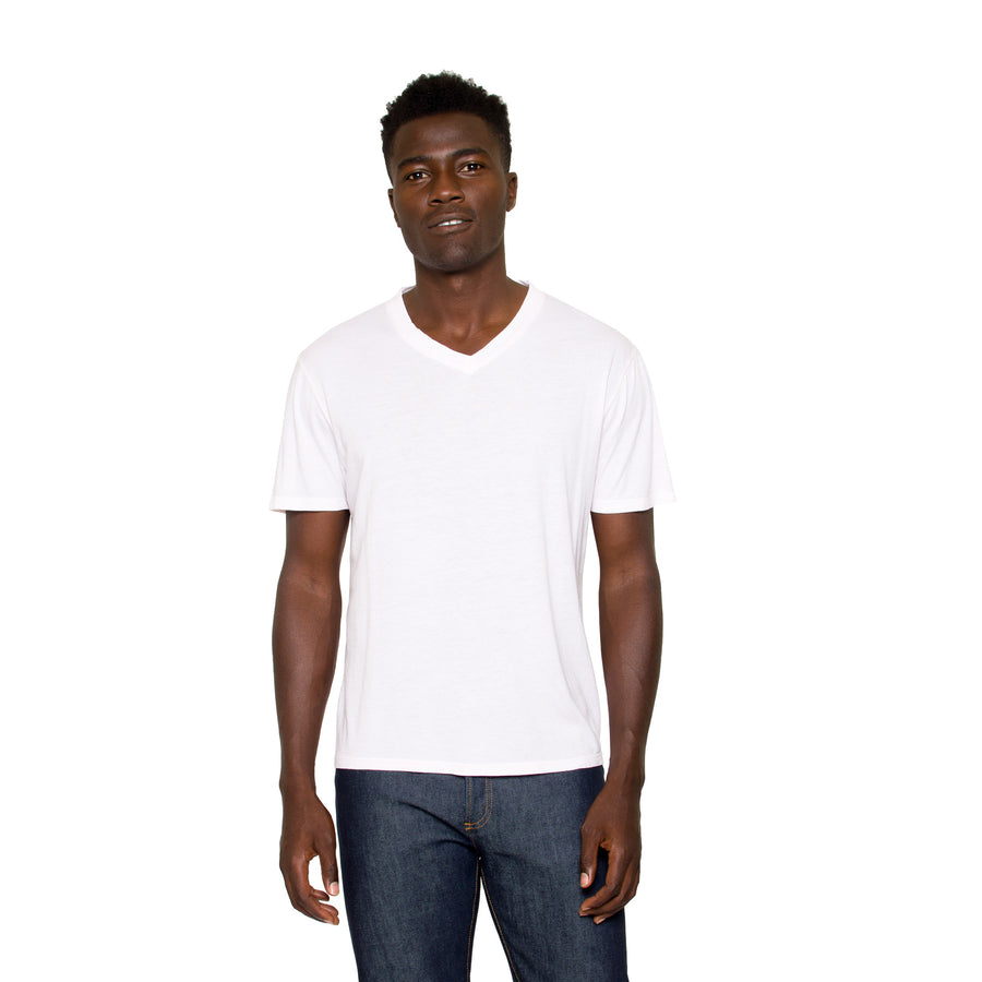 Graham V Neck Tee in White