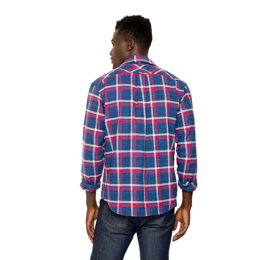 Jack Long Sleeve Button Down - Midnight Blue Checkered