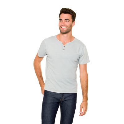 Model wearing the Justin Short Sleeve Henley in Crystal