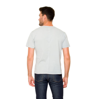 Back View of Justin Short Sleeve Henley in Crystal