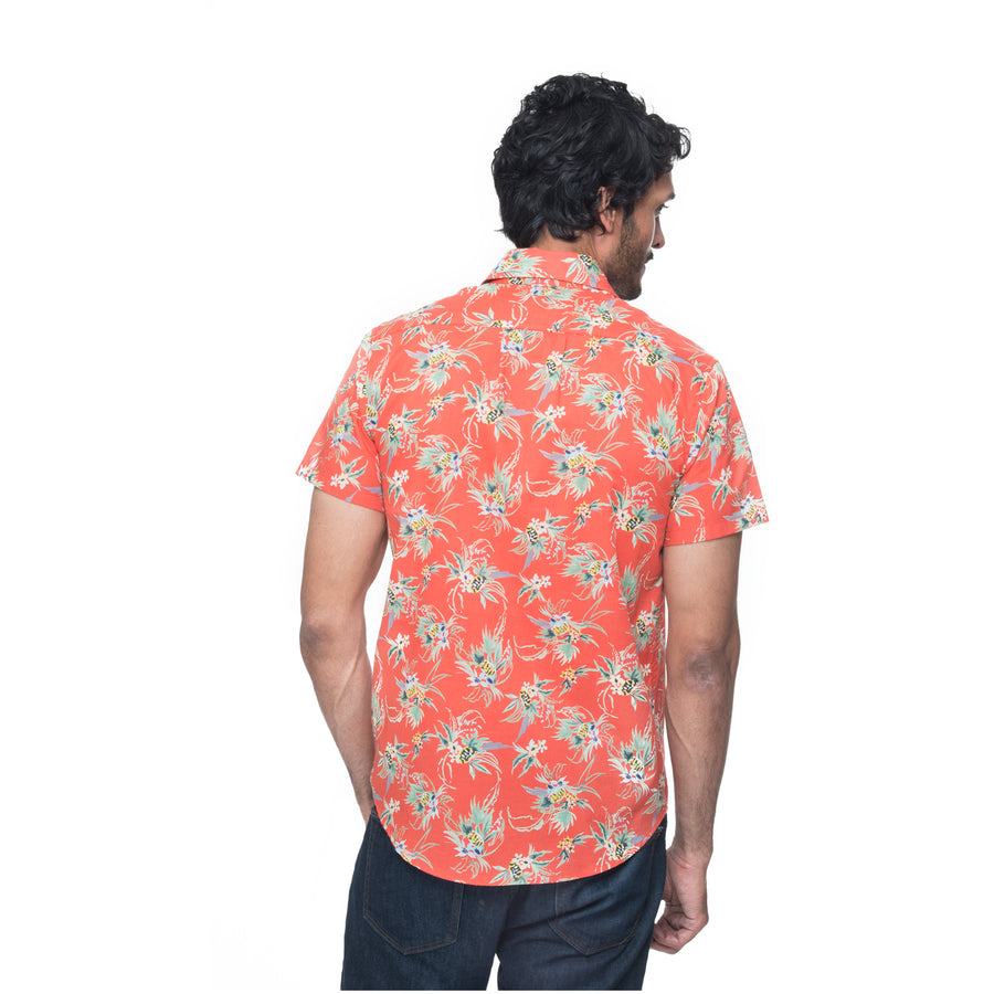 Picture of model wearing Mikey in coral