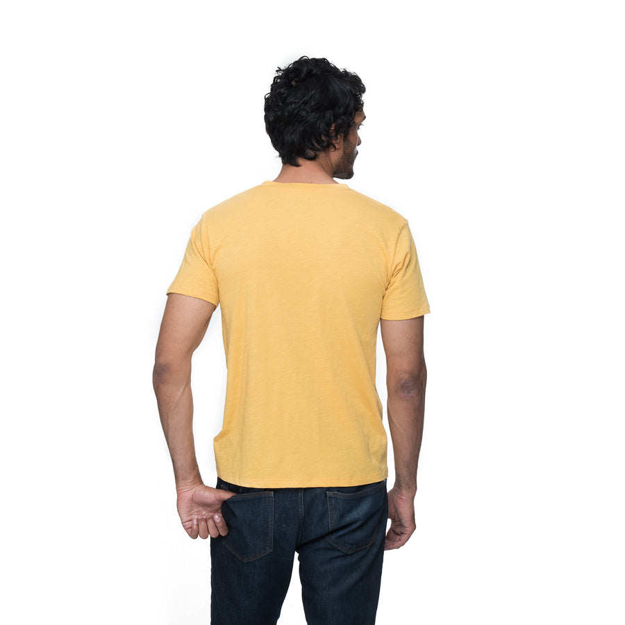 Front view of model wearing Henry in egg tart