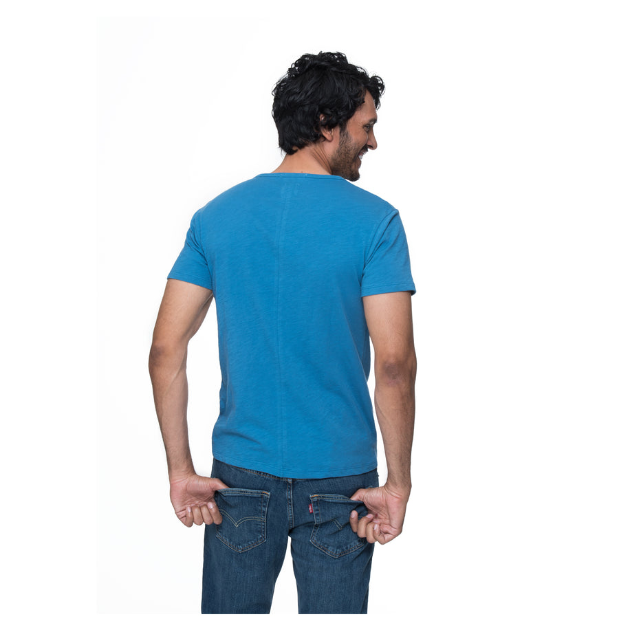 Justin short sleeve Henley - Blue Steel