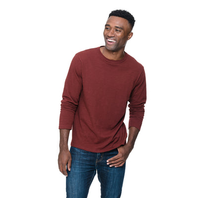 Picture of model wearing Adam Long Sleeve tee in Sangria