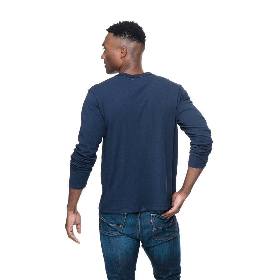 Front view of model wearing Adam in Indigo