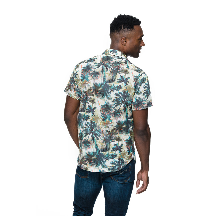 Front view of model wearing Mikey in palm print