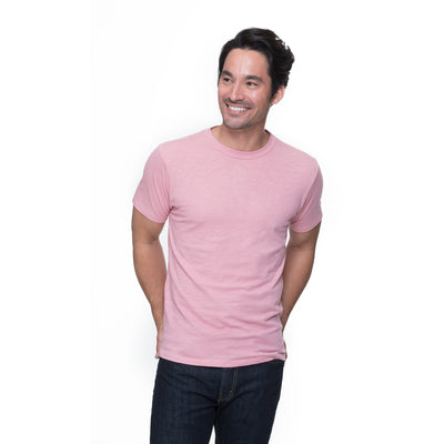 Front view of model wearing Henry in dusty rose