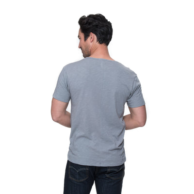 Back view of model wearing Justin in pebble
