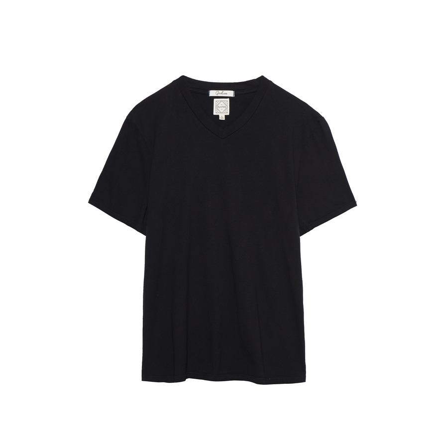 Graham V Neck Tee in Black