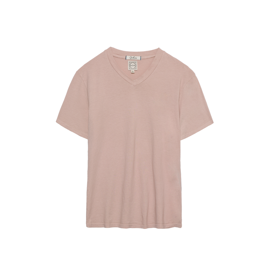 Graham V Neck Tee in Pearl