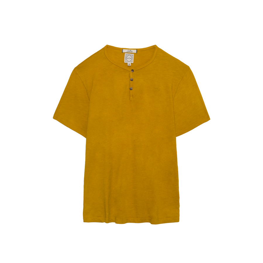 Justin Short Sleeve Henley in Old Gold