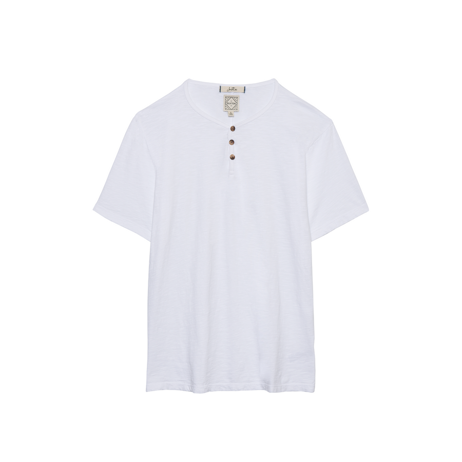 Justin Short Sleeve Henley in Whitesands