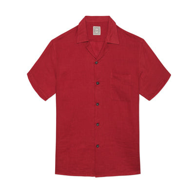 Linen Button Down Red