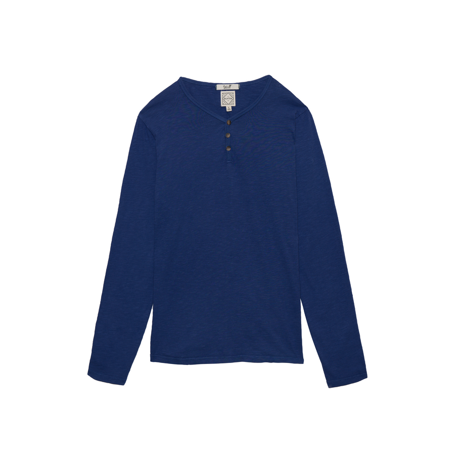 Will long sleeve Henley in Blueberry