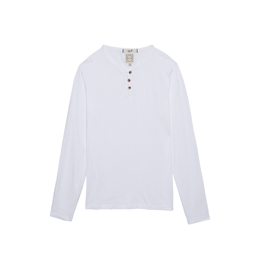 Will long sleeve Henley in Blanco