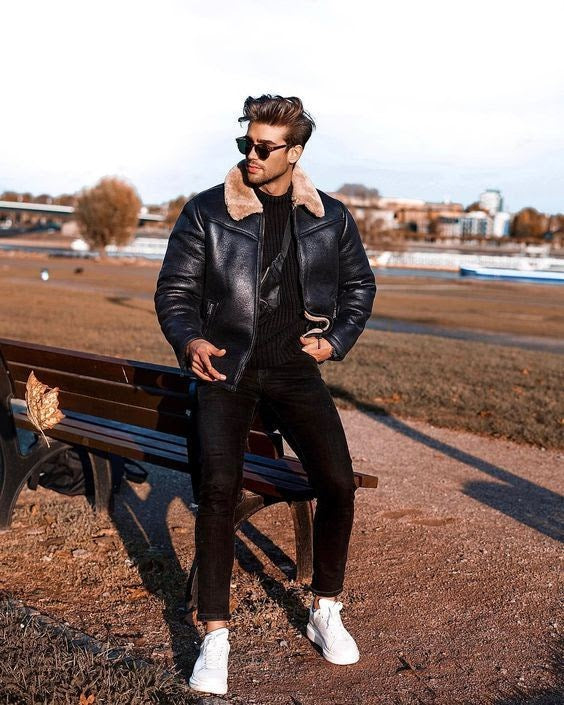brown leather bomber jacket with fur