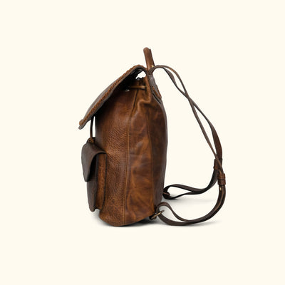 Camden Braided Leather Backpack | Mahogany