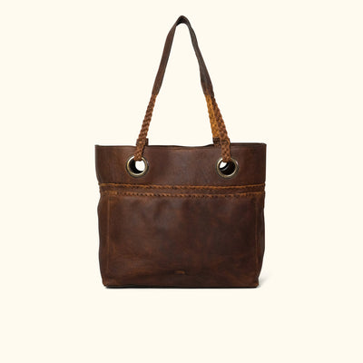 Camden Braided Leather Tote | Mahogany