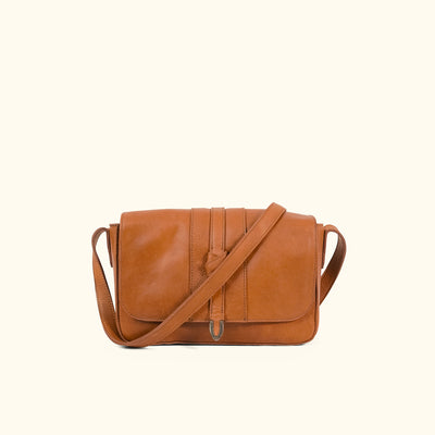 Chelsea Leather Crossbody Purse | Honey Brown