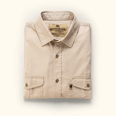 Men's Cotton Twill Stretch Button Down Shirt Sandstone