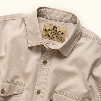 Men's Rugged Cotton Twill long sleeve shirt sandstone