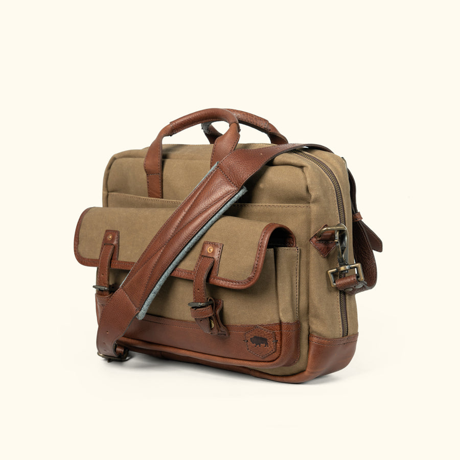 Mens Best Canvas Leather Briefcase Bag Field KHaki