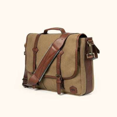 Men's Rugged Canvas Leather Messenger Bag