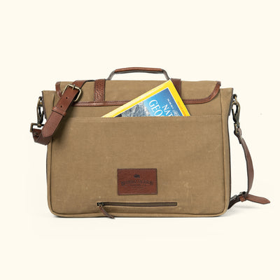 Vintage Waxed Canvas Messenger Travel Bag Field Khaki