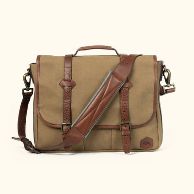 Rugged Waxed Canvas Messenger Bag Field Khaki