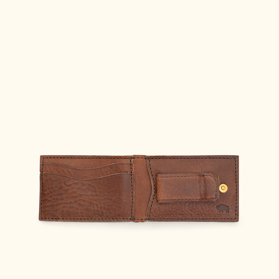 Dakota Leather Bifold - Metal Money Clip Wallet | Chestnut Brown