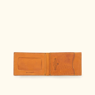 Dakota Leather Bifold - Metal Money Clip Wallet | Saddle Tan