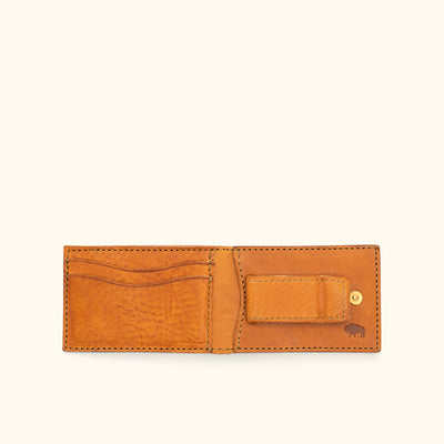 Dakota Leather Bifold - Metal Money Clip Wallet | Saddle Tan hover