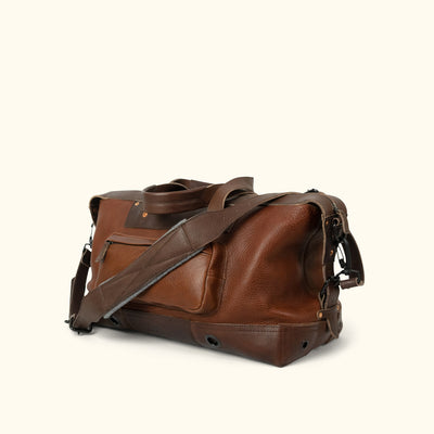 Men's Classic Leather Weekend Bag | Chestnut Brown turned