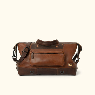 Men's Rugged Leather Weekend Bag | Chestnut Brown front