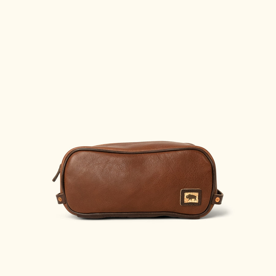628c25d2f9f Dakota Leather Dopp Kit Toiletry Bag   Chestnut Brown w  Dark Hazelnut