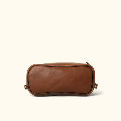 Dakota Leather Dopp Kit Toiletry Bag | Chestnut Brown w/ Dark Hazelnut