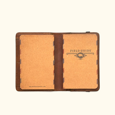 Men's Rugged Leather Field Notes Cover & Travel Wallet | Chestnut Brown