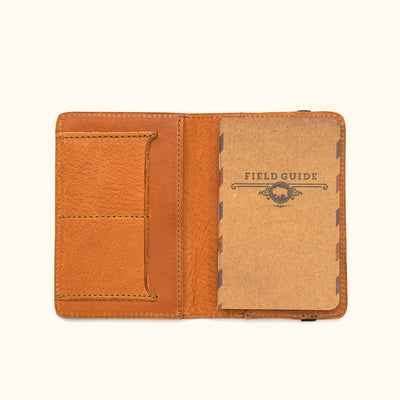 Men's Vintage Leather Field Notes Cover Wallet | Saddle Tan