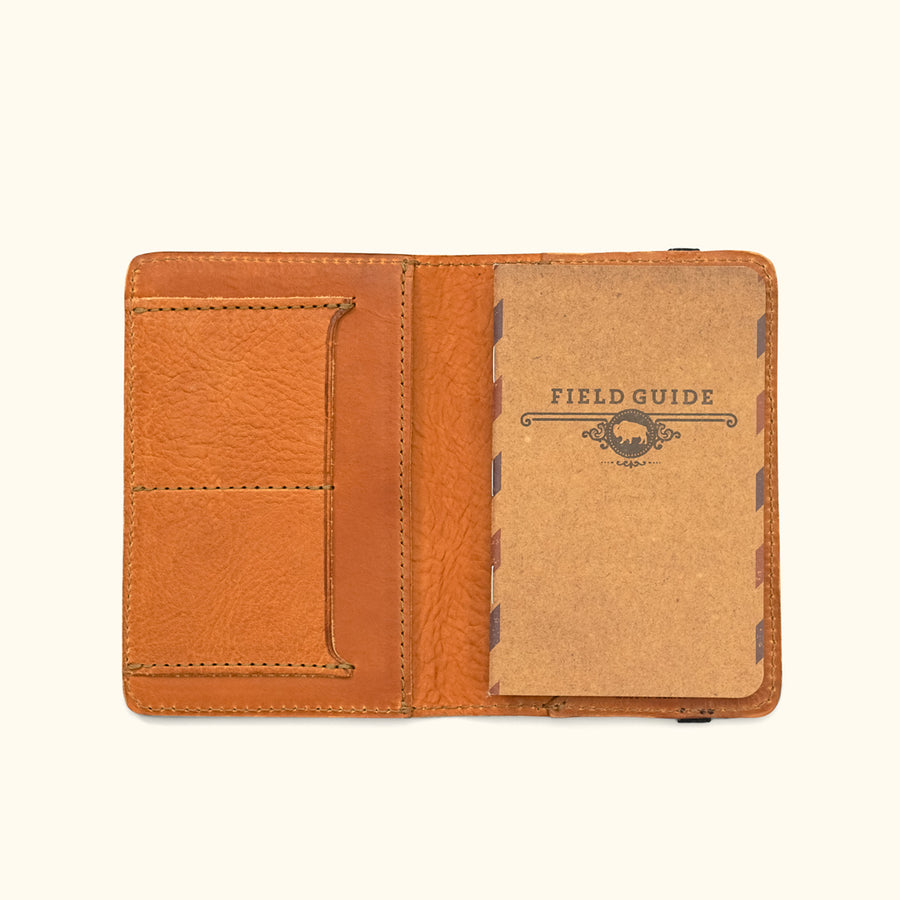 Men's Rugged Leather Field Notes Cover & Travel Wallet | Saddle Tan
