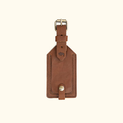 Dakota Leather Luggage Tag | Chestnut Brown