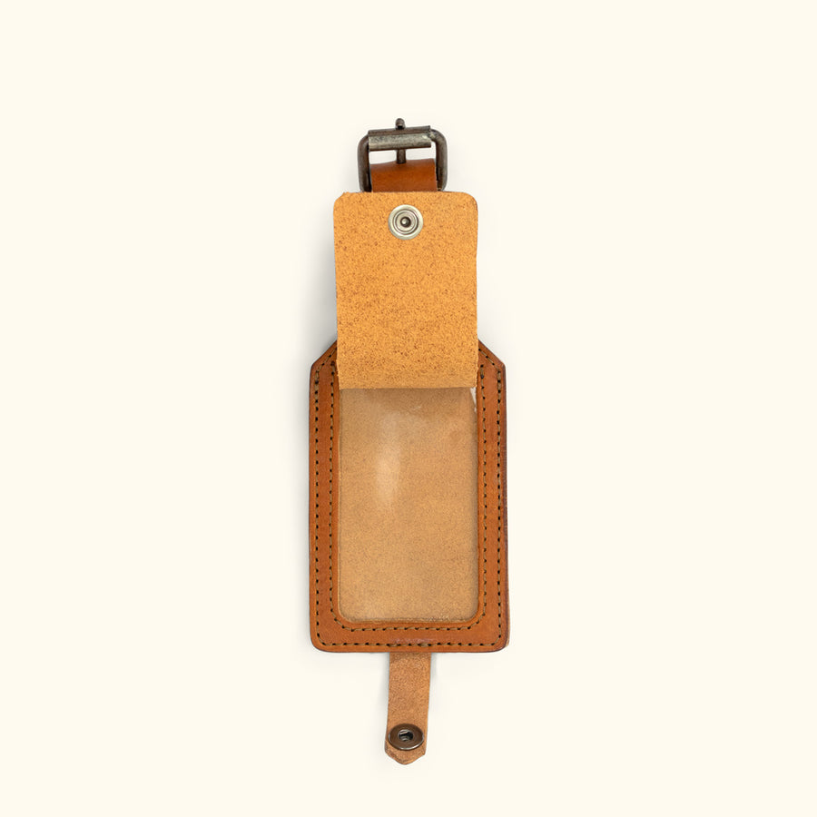 Dakota Leather Luggage Tag | Saddle Tan
