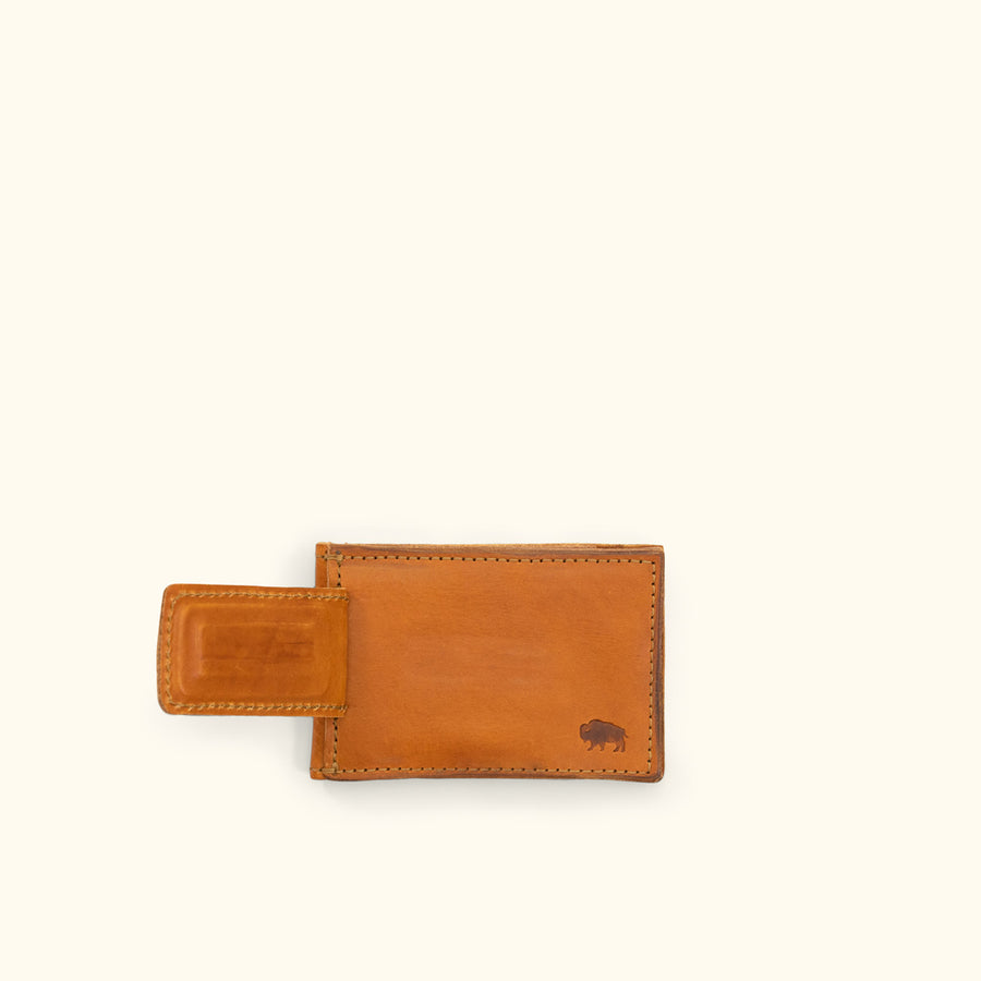 Dakota Leather Magnetic Money Clip Bifold Wallet | Saddle Tan
