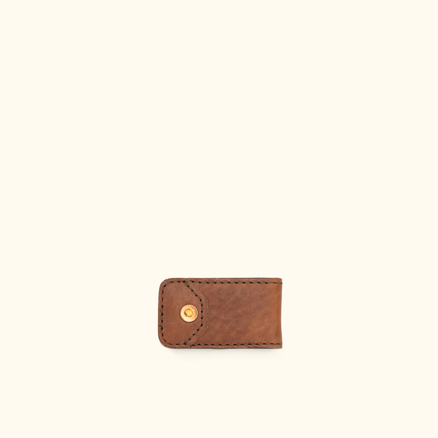 Dakota Leather Magnetic Money Clip | Chestnut Brown